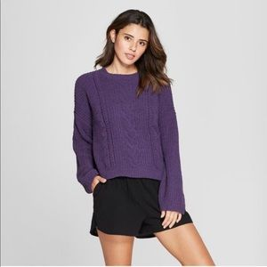 Universal Thread Cable Knit Purple Sweater Large